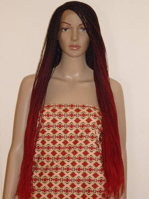 Handmade Ombre Box Braid Braided Lace Front Wig Off Black Burgundy