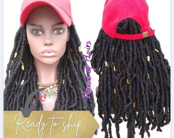 "Budget Friendly Cap Braided Wig - Faux Locs Black Red Hat 20"""