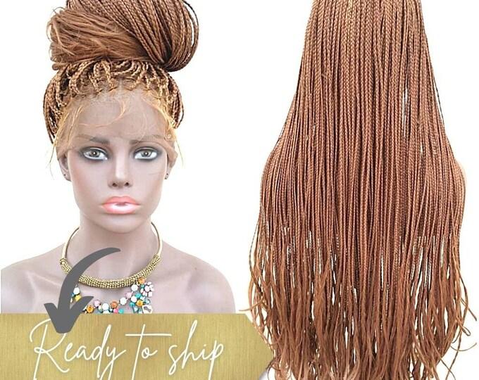 "Handmade Glueless Medium Box Braids Full Lace Knotless Wig Curly ends Auburn Blonde mix 26""-28"""