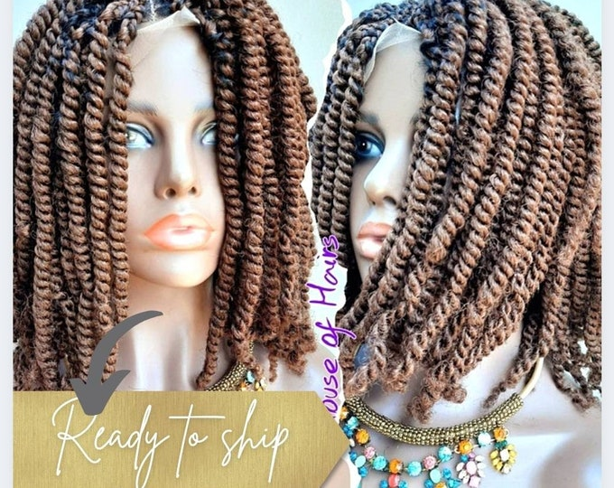 """SHELLY - Handmade Braided Frontal Lace Closure Crochet Wig Afro Kinky SPRING Twist Ombre Black #33 12"""""""