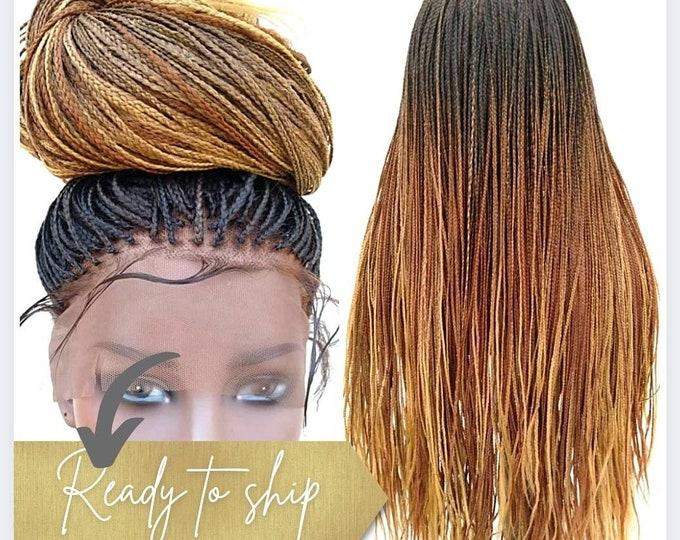 "Small Plaits Box Braids Full Lace Box Braids Plaits Wig Black Ombre Brown Blonde 3 tone 24""-26"""