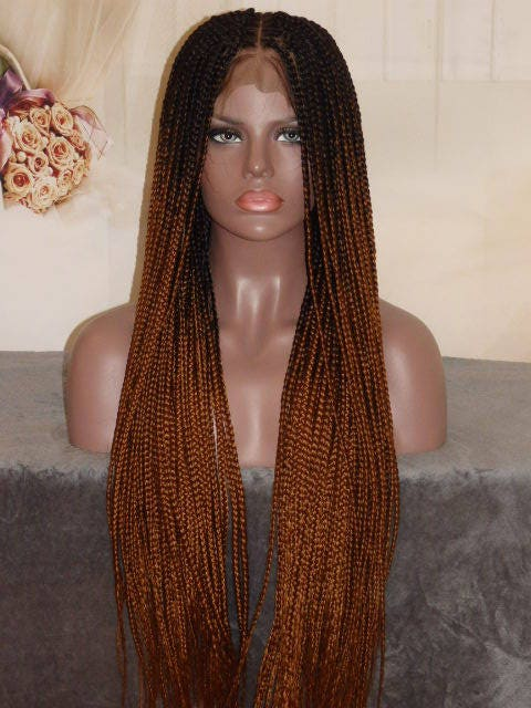 Handmade Ombre Box Braid Braided Full Lace Wig Off Black