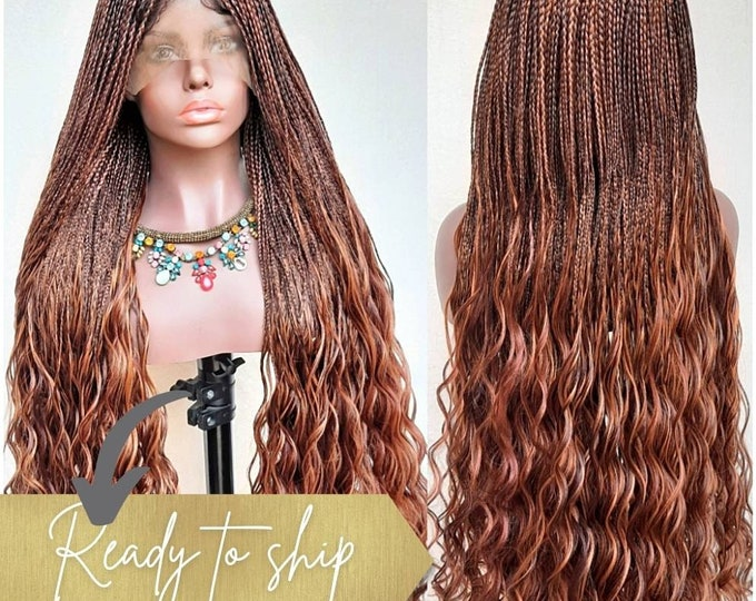 """ATHENA - Micro Plaits Box Braids with curly ends Frontal Lace Wig Brown mix  28""""-30"""""""