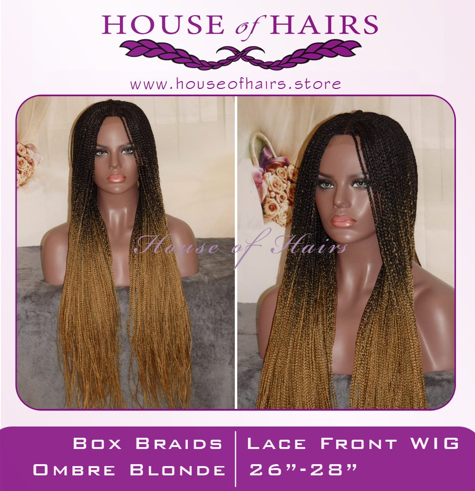 Handmade Ombre Box Braid Braided Lace Front Wig Off Black Blonde