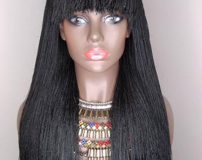 "TINA - Handmade Braided Closure Crochet Wig Needle Twist with bangs Black 22"""