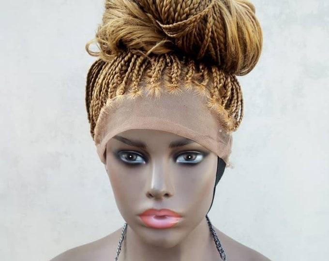 "Handmade Glueless Medium Box Braids Full Lace Knotless Wig Curly ends Blonde 26""-28"""