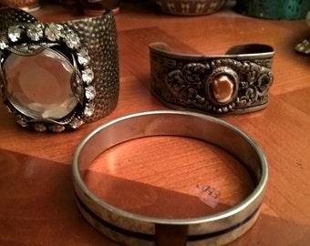 Three vintage antiqued metal and stones bracelet