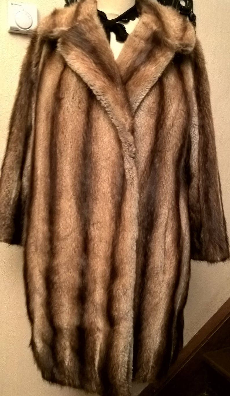 fur Fox vintage coat woman woman beige and brown coat woman girl gift clothes clothing girl Great coat