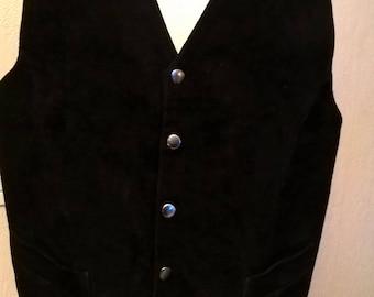 Waiter vest / suede black/vest Vintage years 80/idea gift/birthday/event.