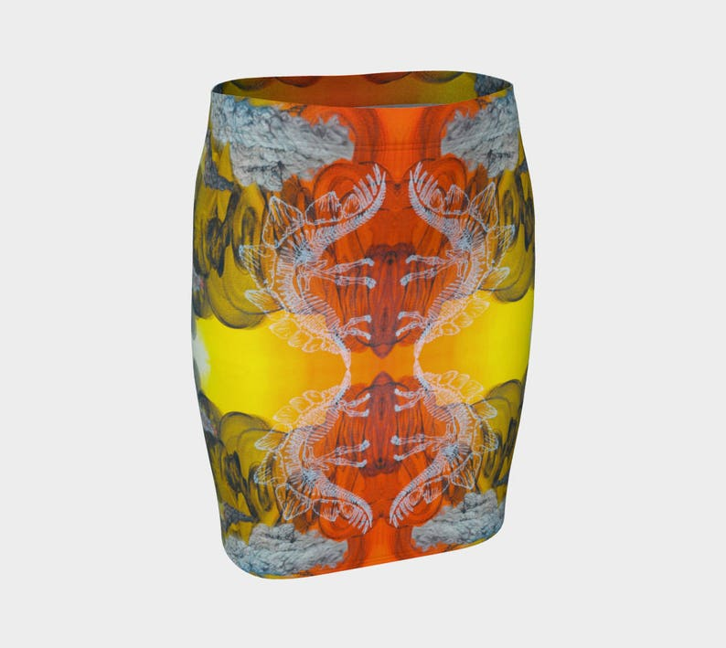 Abstract Fitted Skeleton Dinosaur Neon Art Work Psychedelic Stegosaurus Festival Painting Pencil Badlands Vertical Fitted Skirt