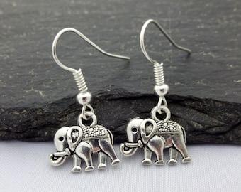 Elephant Earrings, Charm Earrings, Silver, Elephant Gift, Elephant Jewellery, Elephant Charms, Gift For Her, Elephant Jewelry, Gifts
