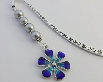 Floral Bookmark, Flower Bookmark, Blue, Silver, Beaded Bookmark, Charm Bookmark, Gift, Gift For Readers, Book Lover Gift, Gift For Her