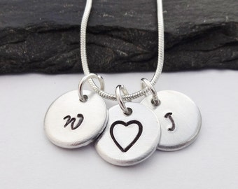 Initial Heart Necklace, Initial Necklace, Heart Necklace, Initial Jewellery,Hand Stamped Necklace, Personalised Gift,Jewelry,Valentines Gift