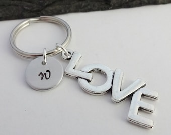 Love Keyring, Initial Love Keyring, Hand Stamped, Valentines Gift, Love Gift, Charm Keyring, Love Keychain, Personalised Keyring,Gifts,Heart