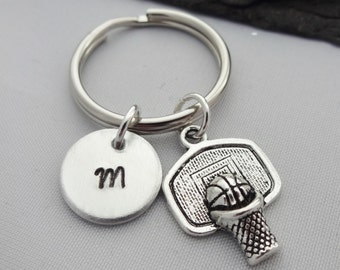 Basketball Keyring, Initial Keyring, Basketball Keychain, Basketball Player, Hand Stamped, Basketball Gifts, Personalised, Sports Gifts