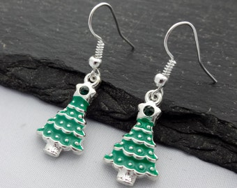 Christmas Tree Earrings, Christmas Earrings, Christmas Jewellery, Xmas Earrings, Charm Jewelry, Christmas Gifts, Xmas Gift, Stocking Fillers