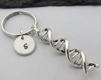 DNA Keyring, Hand Stamped Keyring, Science Keyring, DNA keychain, Initial Keyring,Science Gifts,Personalised Keyring,Biology,Dna Strand,Gift