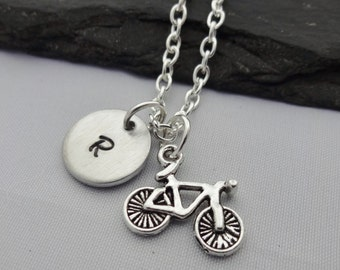 Initial Bike Necklace, Bike Necklace, Initial Necklace, Charm Necklace, Bicycle Necklace, Bike Gifts, Bicycle Gift, Jewellery,Cycling,Sport