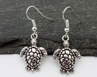 Turtle Earrings, Charm Earrings, Turtle Jewellery, Animal Earrings, Turtle Jewelry, Turtle Gift, Animal Lover, Beach Jewelry, Nautical