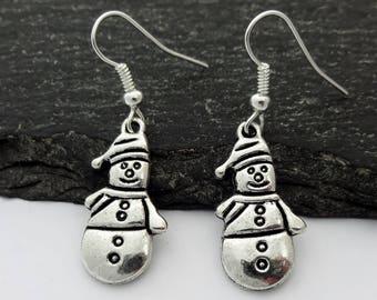 Snowman Earrings, Christmas Earrings, Christmas Jewellery, Xmas Earrings, Snowman Jewelry, Charm Gifts, Xmas Gift, Stocking Fillers