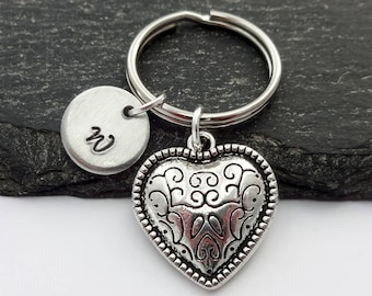 Heart Keyring, Love Keyring, Valentines Gift, Initial Keyring, Hand Stamped, Gift For Her, Love Heart, Love Keychain, Personalised Gifts