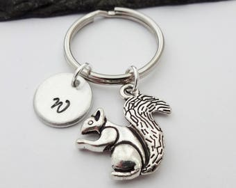 Squirrel Keyring, Hand Stamped Keyring, Initial Keychain, Squirrel Keychain, Squirrel Gifts, Charm Keyring, Personalised, Animal Gift