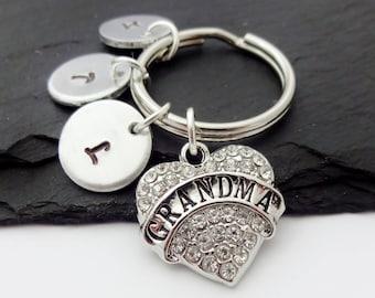 Grandma Keyring, Nanny Gift, Gifts For Grandma, Hand Stamped, Nan Gift, Personalised Keychain, Gift From Grandchildren, From Grandkids,Heart