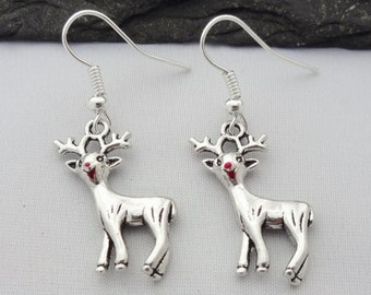 Reindeer Earrings, Christmas Earrings, Christmas Jewellery, Xmas Earrings, Charm Jewelry, Christmas Gifts, Xmas Gift, Stocking Fillers