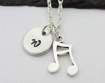 Initial Music Note Necklace, Music Note Necklace, Initial Music Necklace, Charm Necklace, Music Gift, Musical Gift, Personalised Music Gifts