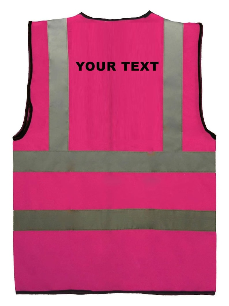 9a181c8e9 Hot Pink Child Girl Reflective Custom Text Logo Printed Safety Vest Hi  Visibility Logo Sport Group School 0 to 12 months Sz 3 to 11 yrs