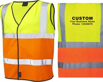 10 Vests Printed Adult Reflective Safety Customize Two Tone Yellow Orange Hi Visibility Text Back Advertise School
