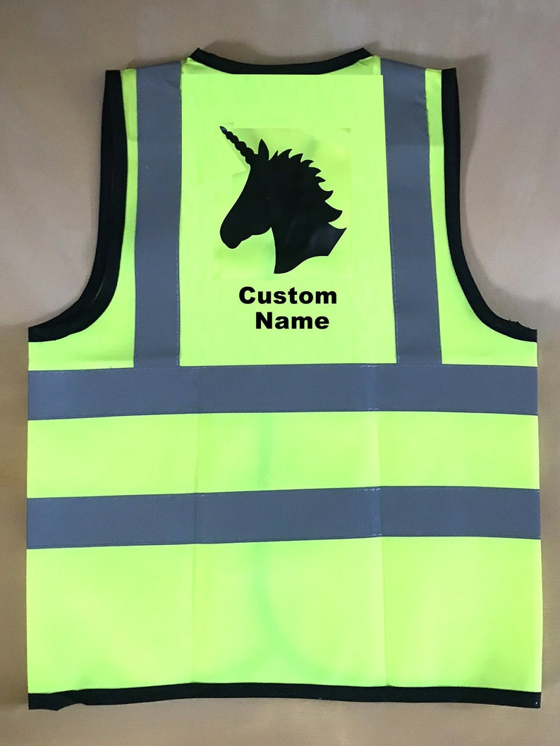 12 yrs Unicorn Vests Children Reflective Safety Custom Print With or Without Name Text Yellow Hi Visibility  Sport School Baby
