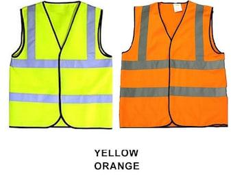 Yellow Orange Child Baby Reflective Safety Vests Waistcoat Hi Visibility Printable Sport Groups School 0-6, 6-12 mo 1-2, 3-5, 6-8, 9-12 yrs
