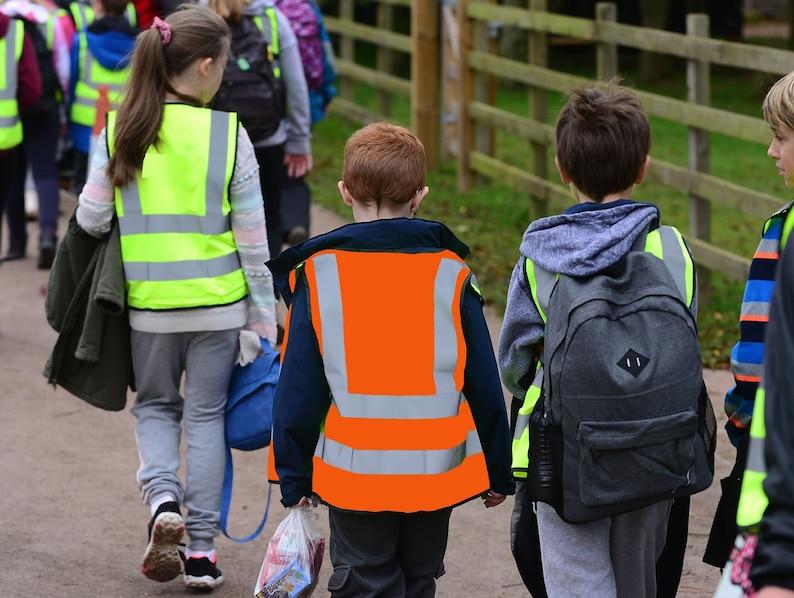 c229c03a9170 Child Orange Yellow Vest Reflective Hi Vis Safety Waistcoat