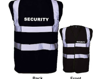 SECURITY Printed Vest Hi Visibility Black Viz Vests Print on Back & Front Reflective Tape S, M, L, XL, 2XL, 3XL