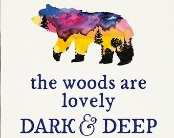 Bear Watercolor Print, Nursery Watercolor Wall Art, Night Sky, Forest Watercolor