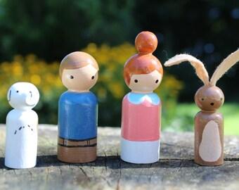 Wooden Peg Doll Set, Wooden Peg Dolls, Kids Birthday Gifts, Set of 4, Battery Free Toys, Imaginative Toys