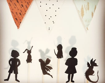 Kids Gift Ideas- 10 Shadow Puppets - Birthday Gift - Heroes and Villains