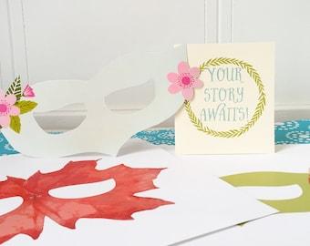 3 Printable Paper Fairy Mask- Flower Masks, Kids Costumes, Feather Masks, Kids Gifts, Printable Masks, Pretend Play, Imaginative Play