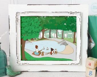 Woodland Nursery Art, At the Pond, Nursery Decor, Mermaid Falls