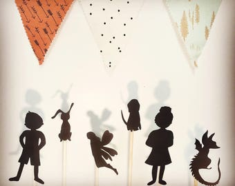 Unique Gift for Kids, Shadow Puppets, Gifts for Kids, 10 Piece Set, Heroes and Villains