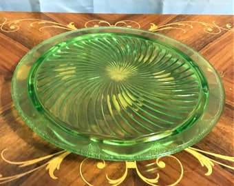 2047 Green Pressed Glass Plate