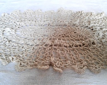 Vintage Twelve By Eight Oval Hand Crocheted Doily #Hand Made #Doilies #Linens # Decorative #Dish Towel #Bar Mop