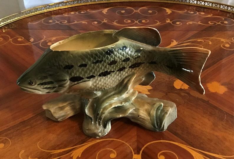 Etsy & Vintage Enesco Fish Shaped Planter or Flower Vase Swimming Fish Home Decor Ceramic Vase Aquatic Decor