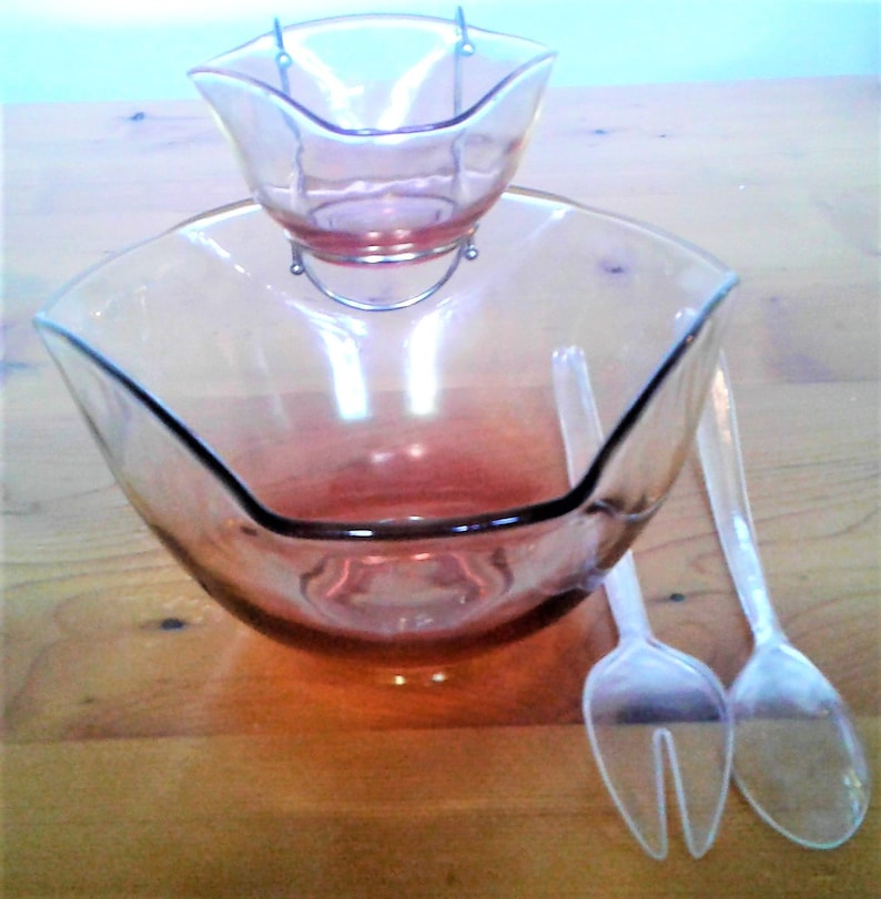 Vintage Five Piece Ruby Chip And Dip Salad Set In Original Box By Indiana Glass Company Dunkirk Indiana