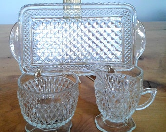 Vintage Mid Century Clear Glass Diamond Pattern Sugar And Creamer And Under Tray