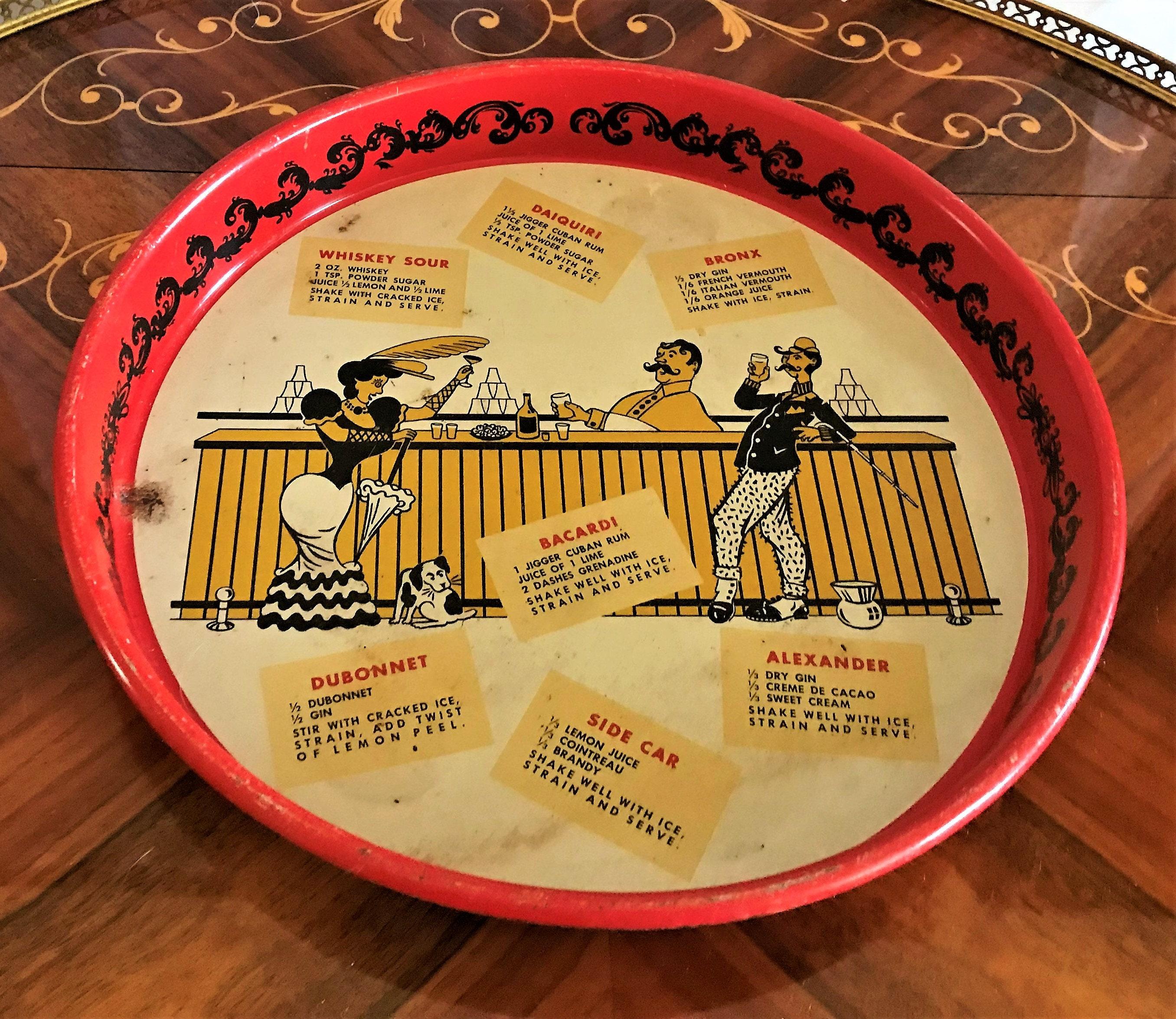 Vintage Mid Century Metal Retro Painted Drink Tray, Drinks Server,Bar  Decor, Home Decor