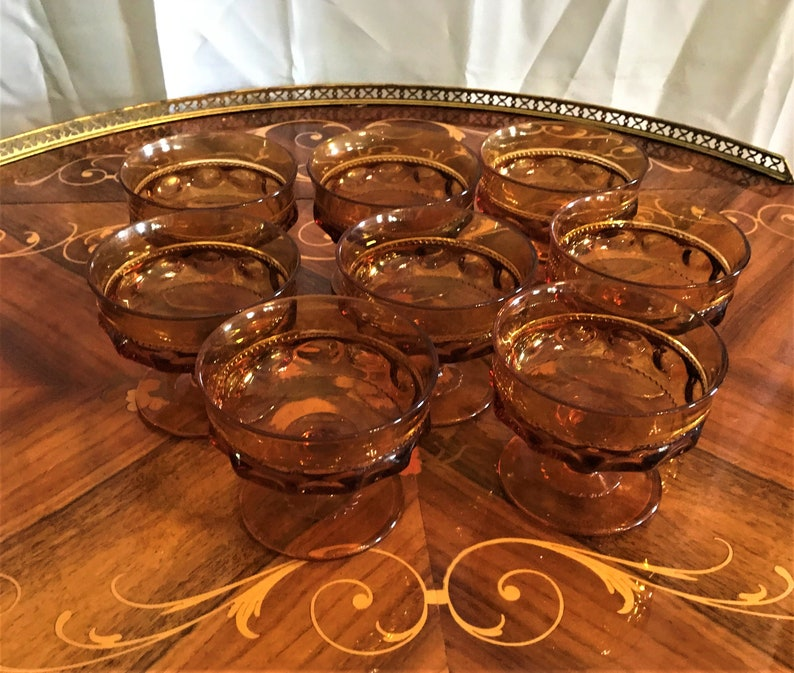 Vintage Amber Indiana Glass King/'s Crown Thumbprint Glasses Coupe Glasses Vintage Tumblers Set Of Eight Footed Glasses Dessert Cups