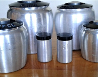 Vintage Kromex Brushed Aluminum With Black Lids Canister Set With Matching Salt And Peppers #Storage # Kitchen Collectibles