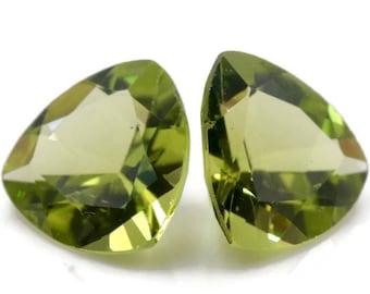 Peridot | Natural Peridot | Peridot Gemstone | Peridot Loose Gemstone | August Birthstone | Green Peridot faceted Trillion Pair 9mm 4.50ct